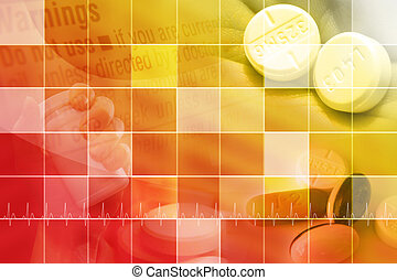 Medical Background With Squares - A red and yellow medical...