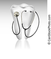 Medical background with tooth and a stethoscope. Concept of diagnostics. Vector