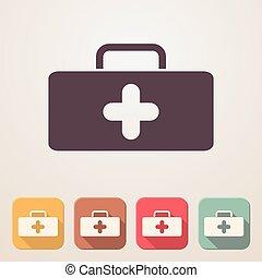 Medical bag flat icon set in color