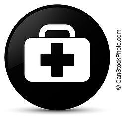 Medical bag icon black round button