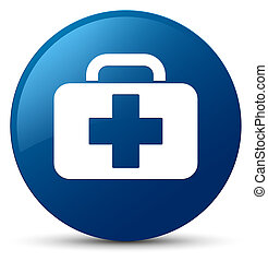 Medical bag icon blue round button