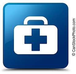 Medical bag icon blue square button