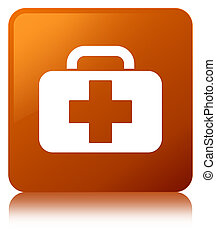 Medical bag icon brown square button