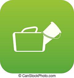 Medical bag icon digital green