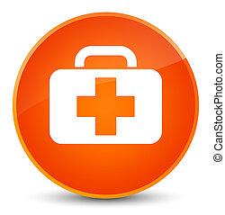 Medical bag icon elegant orange round button