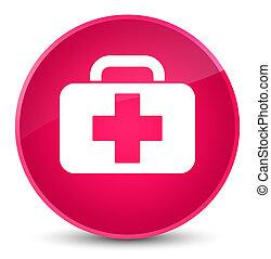 Medical bag icon elegant pink round button