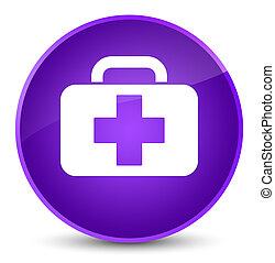 Medical bag icon elegant purple round button