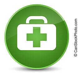 Medical bag icon elegant soft green round button