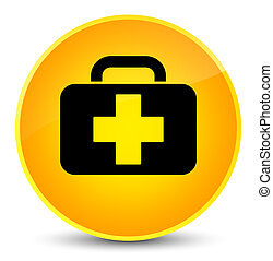 Medical bag icon elegant yellow round button