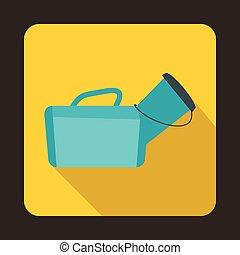 Medical bag icon, flat style