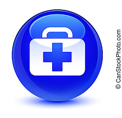 Medical bag icon glassy blue round button