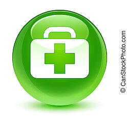 Medical bag icon glassy green round button