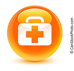 Medical bag icon glassy orange round button