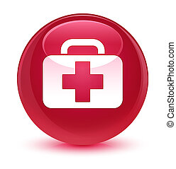 Medical bag icon glassy pink round button