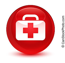 Medical bag icon glassy red round button