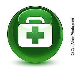 Medical bag icon glassy soft green round button