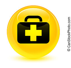 Medical bag icon glassy yellow round button