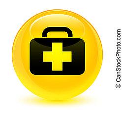Medical bag icon glassy yellow round button