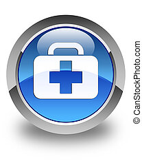 Medical bag icon glossy blue round button