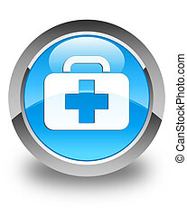Medical bag icon glossy cyan blue round button