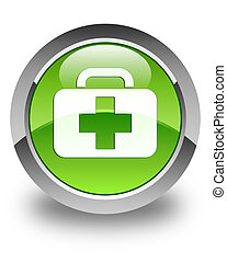 Medical bag icon glossy green round button
