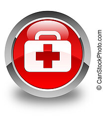 Medical bag icon glossy red round button
