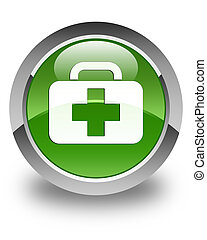 Medical bag icon glossy soft green round button