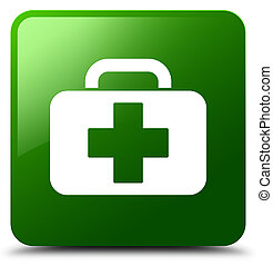 Medical bag icon green square button