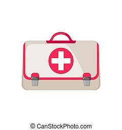 Medical Bag Icon in flat style isolated on white background.