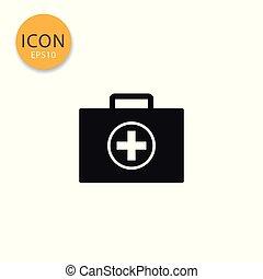 Medical bag icon isolated flat style.