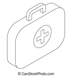 Medical bag icon, isometric 3d style
