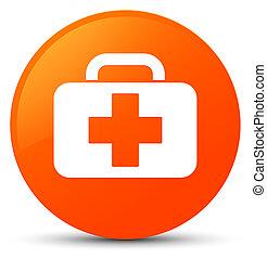 Medical bag icon orange round button
