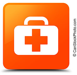 Medical bag icon orange square button
