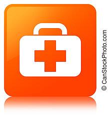 Medical bag icon orange square button