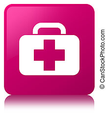 Medical bag icon pink square button