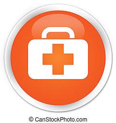 Medical bag icon premium orange round button