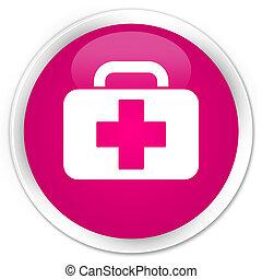 Medical bag icon premium pink round button