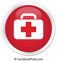 Medical bag icon premium red round button