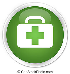 Medical bag icon premium soft green round button