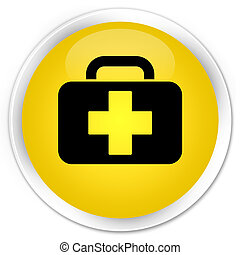 Medical bag icon premium yellow round button