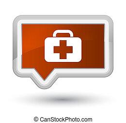 Medical bag icon prime brown banner button