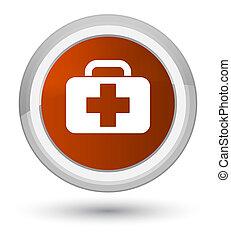 Medical bag icon prime brown round button
