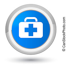 Medical bag icon prime cyan blue round button