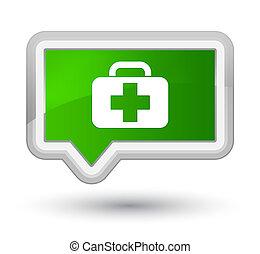 Medical bag icon prime green banner button