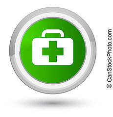 Medical bag icon prime green round button