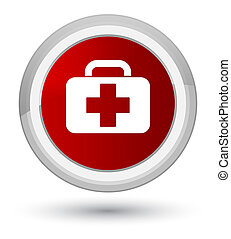 Medical bag icon prime red round button
