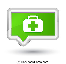 Medical bag icon prime soft green banner button