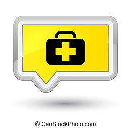 Medical bag icon prime yellow banner button