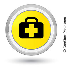 Medical bag icon prime yellow round button