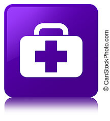 Medical bag icon purple square button